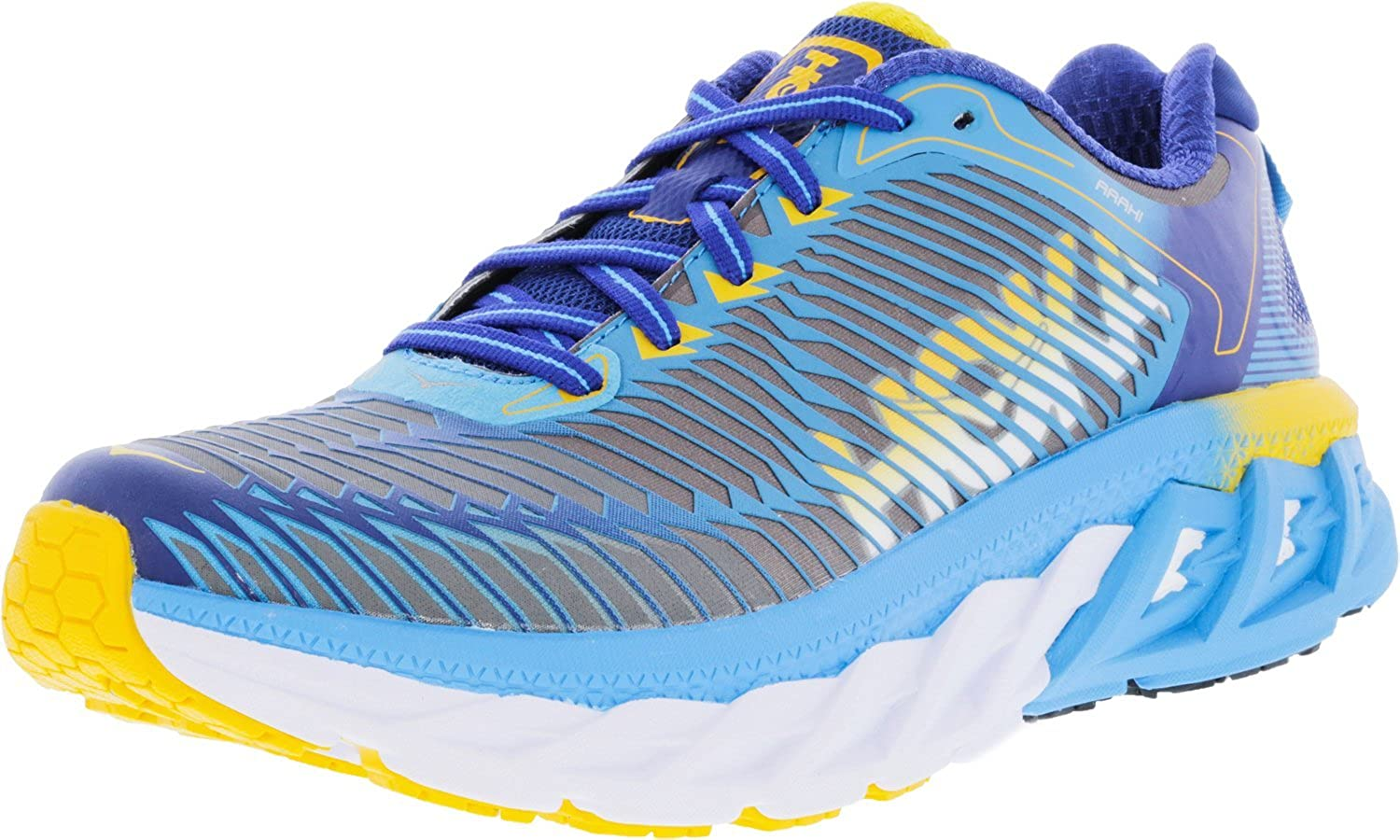 Hoka One Women's Arahi Dresden bluee gold Fusion Ankle-High Running shoes - 6M