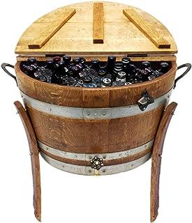 Central Coast Creations Half Barrel Ice Chest - Wine Barrel Handcrafted Wine Barrel Furniture