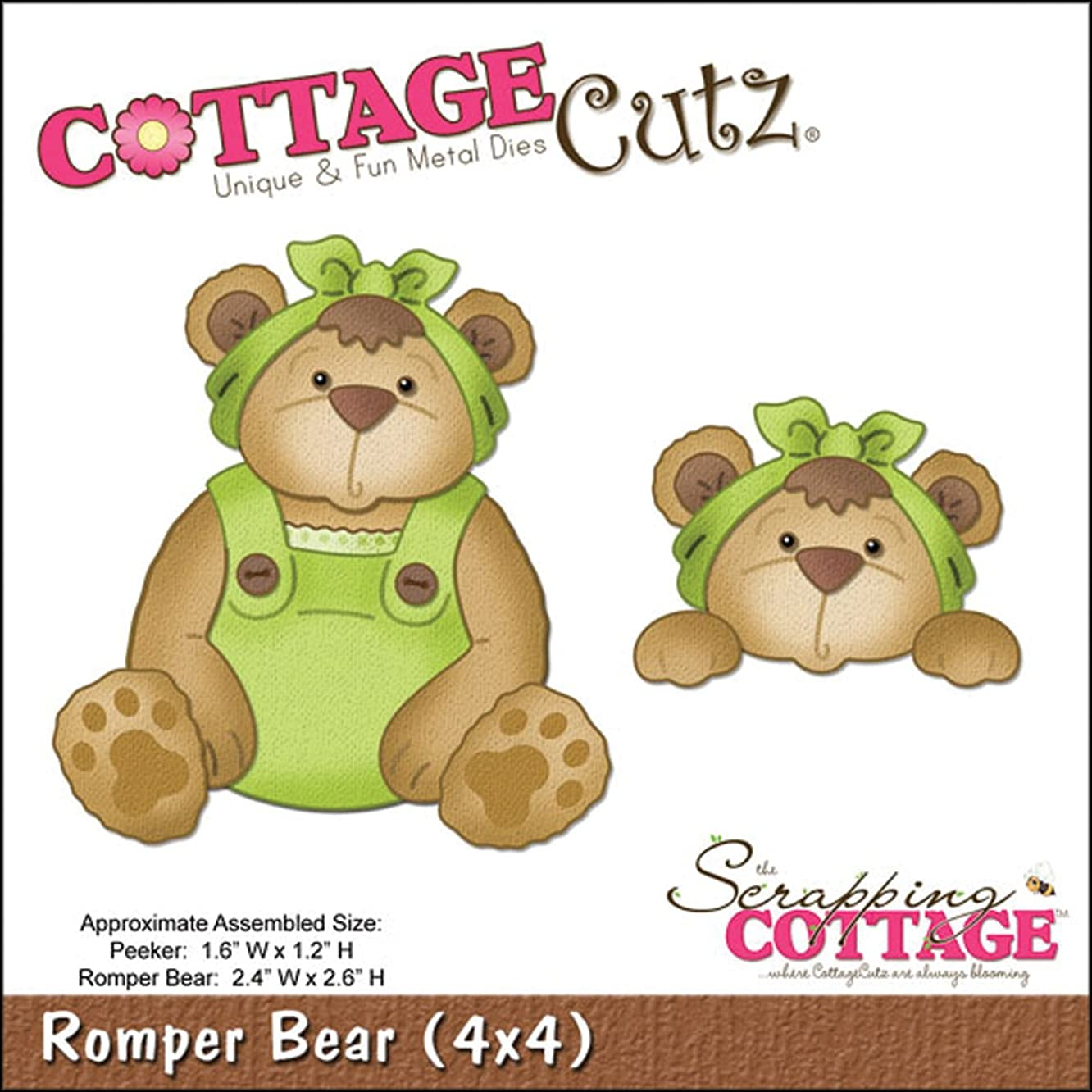 CottageCutz 4X4501 Die Cuts with Foam, 4 by 4-Inch, Romper Bear