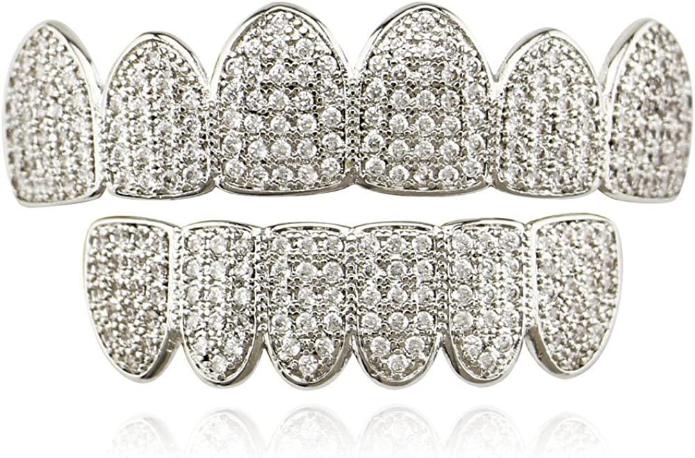 OOCC 18k Gold Plated Iced Out Grills with Diamond Hip Hop Teeth Grillz Caps Top and Bottom Set for Your Teeth