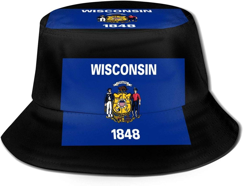 Flag of Wisconsin Bucket Hat Fisherman's Hat Summer Autumn Outdoor Packable Hat Beach Travel Sun Hat Black