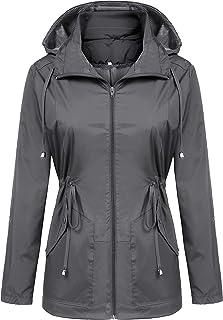 Womens Rain Coat Lightweight Long Raincoat Waterproof Outdoor Breathable Rain Hooded Jackets