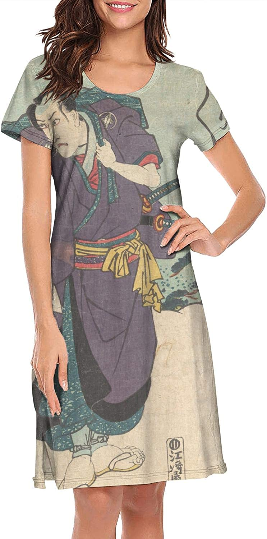 ZWEN Women's Japanese Ukiyo Art Nightgown Elegant Nightwear Comfortable Sleepwear