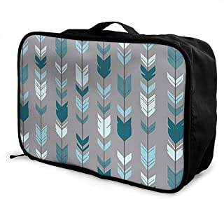MLIDHDY Arrow Feather- Teal Blue Grey Young Men and Women School Luggage Bag 5.9