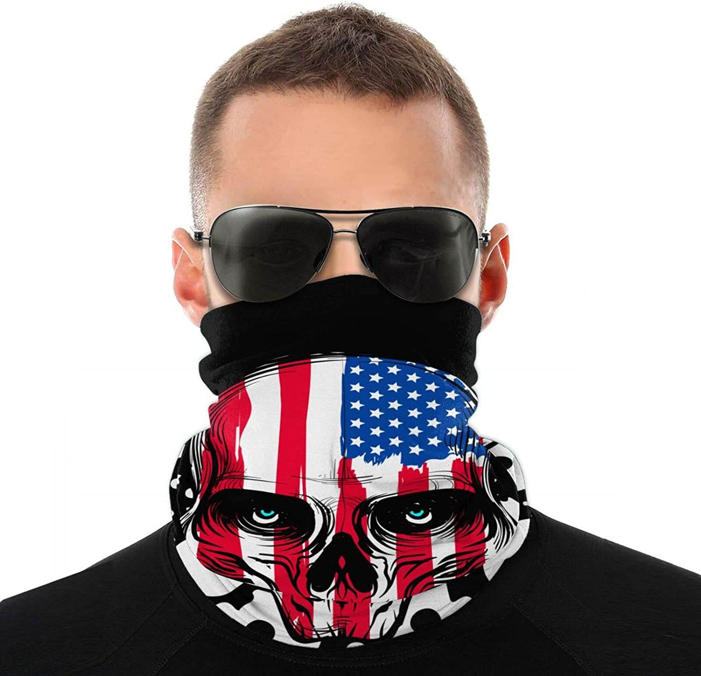 Men Women Unisex Skull Head American Flag Neck Gaiter Face Mask Reusable, Headband Washable Bandana Face Mask, Sun Dust Protection Cover Balaclava Scarf Shield