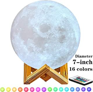 7 inch Moon Lamp,6inch,8inch,9inch,10inch and11inch Diameter Moon Light Lamps are Available, 3D Printing Moon Lamp with Stand,Touch Control and Remote Control with LED 16 Colors.