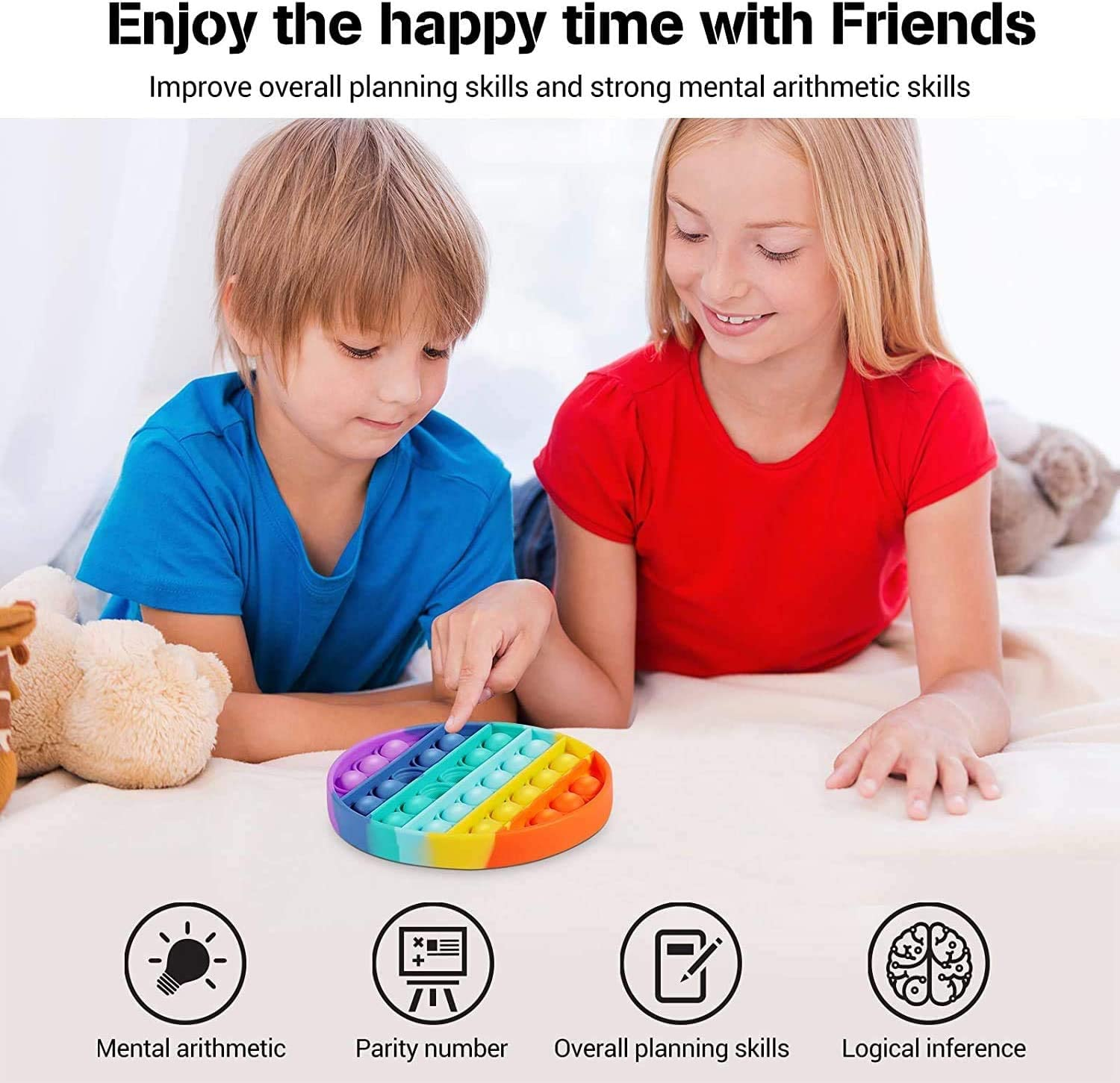 Autism Special Needs Stress Reliever Anxiety Relief Toys Squeeze Extrusion Bubble Fidget Sensory Toys Rainbow 2 Pcs Rainbow Push pop Bubble Sensory Fidget Toy
