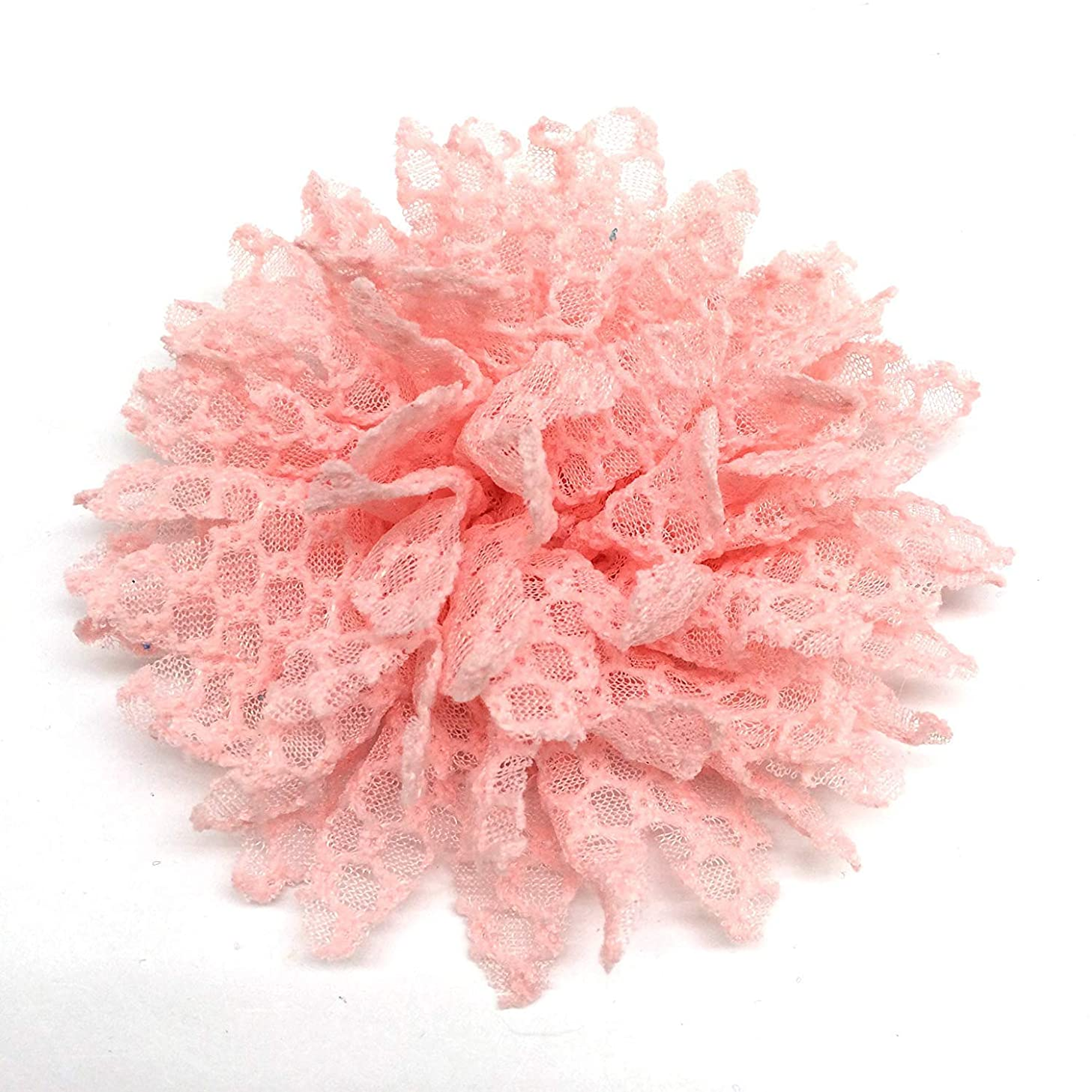 PEPPERLONELY 10PC Set Pink Lace Petal Fabric Flowers, 4 Inch