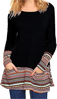 Shirts for Womens, FORUU Fashion Long Sleeve Pocket Printed Patchwork Blouse Top