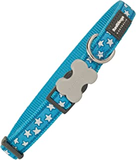 Red Dingo 25mm Turquoise with White Stars Dog Collar, Large