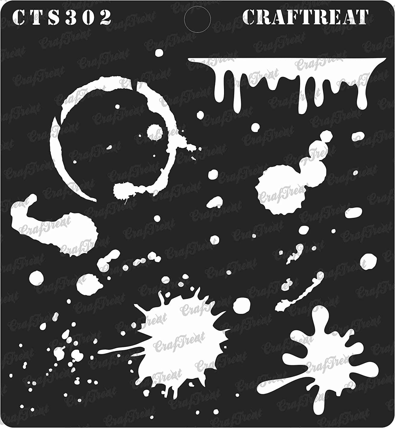 CrafTreat Stencil - Stains and Splatters | Reusable Painting Template for Journal, Home Decor, Crafting, DIY Albums, Scrapbook and Printing on Paper, Floor, Wall, Tile, Fabric, Wood 6