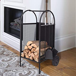 ART TO REAL Firewood Rack Log Cart with Large Wheels, Firewood Mover with 3 Fireplace Tool Set Fireplace Log Carriers Holders Black Wrought Iron Firepit Firewood Cart, 31.5'' x 14'' x 14''