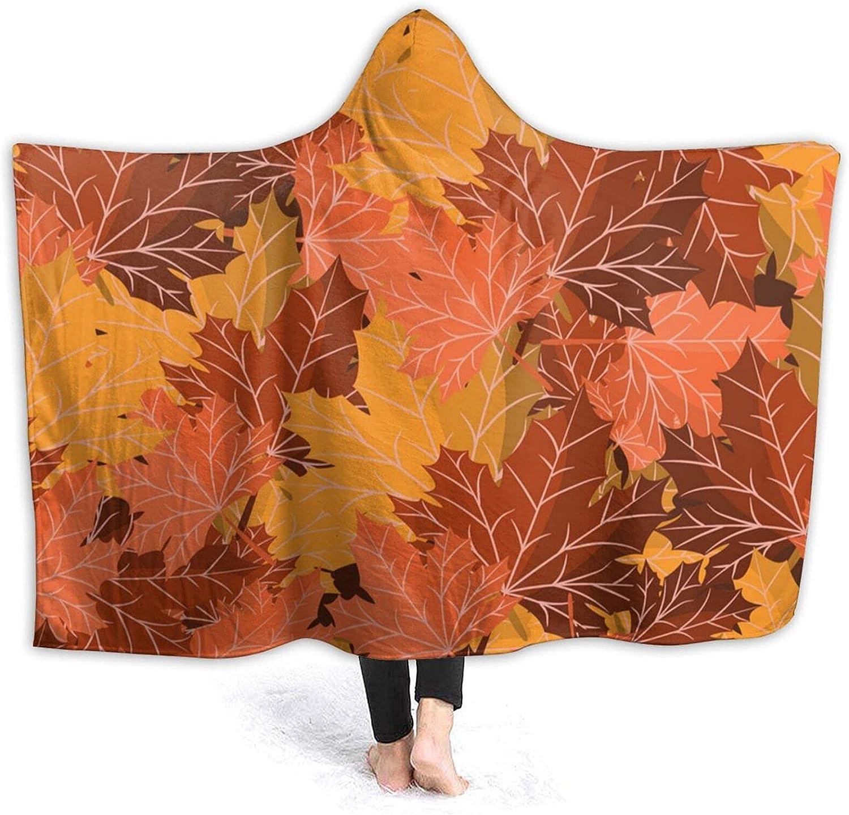 Fall Leaves Popular overseas Mail order cheap Hoodie Blanket Pnnuo Flannel Wearable-Hooded