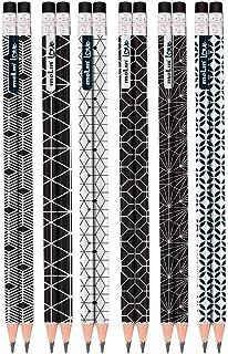 Lapis Preto Redondo Decorado Love Black & White N.2 C/Borracha - Pote com 48 Molin, Multicor