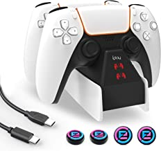 $39 » PS5 Controller Charger Station with Fast Charging PD USB C to C Cable and 4 Thumb Grips LED Indicators Overcharged Protect...
