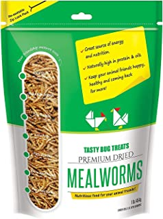 Mealworms - Premium Dried Mealworms (1 lb bag) byTasty Bug Treats (Meal Worms)
