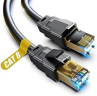 کابل اترنت Cat 8 ، کابل شبکه اینترنت پرسرعت 20 فوت سنگین ، کابل شبکه حرفه ای ، 26AWG ، 2000 مگاهرتز 40 گیگابیت بر ثانیه با اتصال RJ45 با روکش طلا ، محافظ در دیوار ، داخل ساختمان