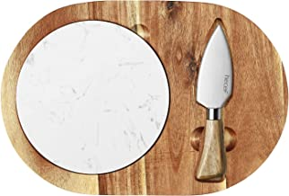 Hecef Oval Wooden Cheese Board Set, Acacia Wood Cheese Serving Board with White Marble Board & Cheese Knife, Cheese Servin...