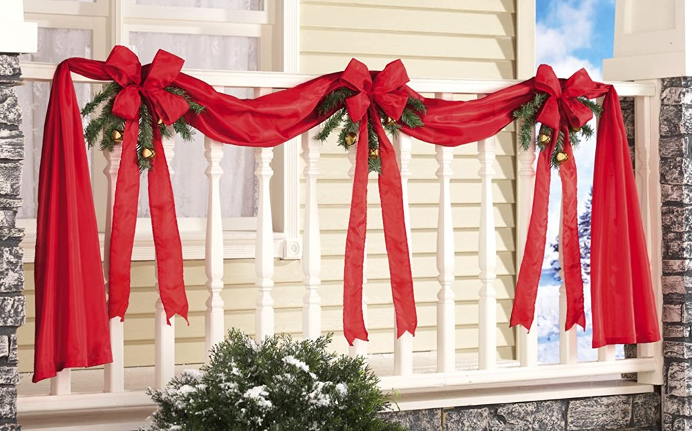 Collections Etc Christmas Ribbon & Bows Fence Decoration