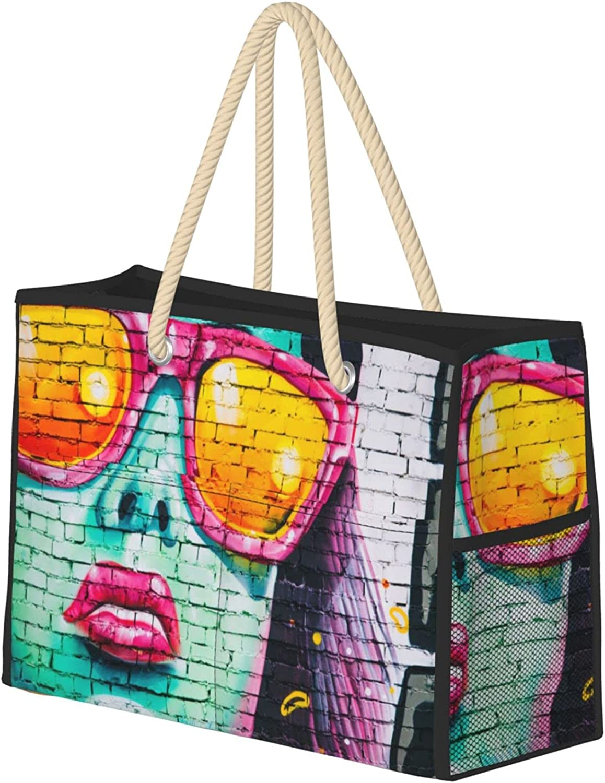 Ranking TOP12 Graffiti Max 87% OFF Art Face Urban Large Bag Beach Zip Waterproof Sandproof