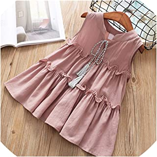 New Casual Active Sleeveless Solid Bow Kid Children Girls Dress Baby Girl Clothes White Yellow Girls Clothing,Gray,4T