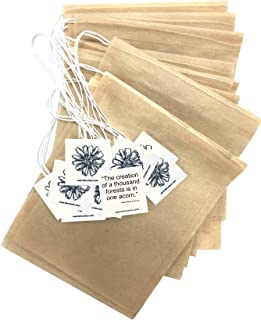 Simple, Fast, All Natural Tea Filter Bags for Loose Leaf Tea, Coffee, Spice's. 100 Empty Tea Bags With Drawstring - Eco Safe Unbleached Material - Disposable Tea Infuser Sachets