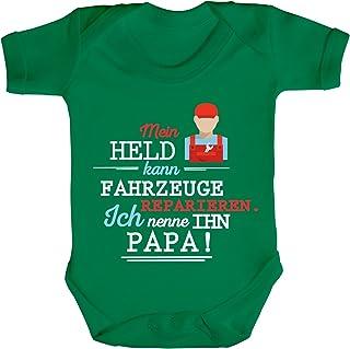ShirtStreet Geschenk zum Vatertag KFZ Mechaniker Strampler Bio Baumwoll Baby Body Kurzarm Jungen Mädchen Papa - Mein Held kann Fahrzeuge reparieren