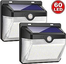 iPosible Luce Solare Esterno, [2 Pezzi] 60 LED Lampada Solare con Sensore di Movimento Impermeabile Luci Solari da Parete Wireless 2000mAh Illuminazione Solare LED con 3 modalità per Giardino,Patio