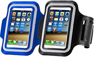 [2pack] Armband Phone 5.2 Inch Case for iPhone X,8,7,6,6S,SE,5C,5S,and Galaxy S5,Google Pixel,[Water Resistant] Sports Exercise Running Workout Pouch Reflective with Key Holder (Black+darkblue)