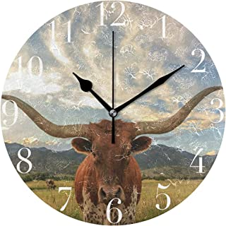 FunnyCustom Round Wall Clock Texas Longhorn Steer Acrylic Creative Decorative for Living Room/Kitchen/Bedroom/Family