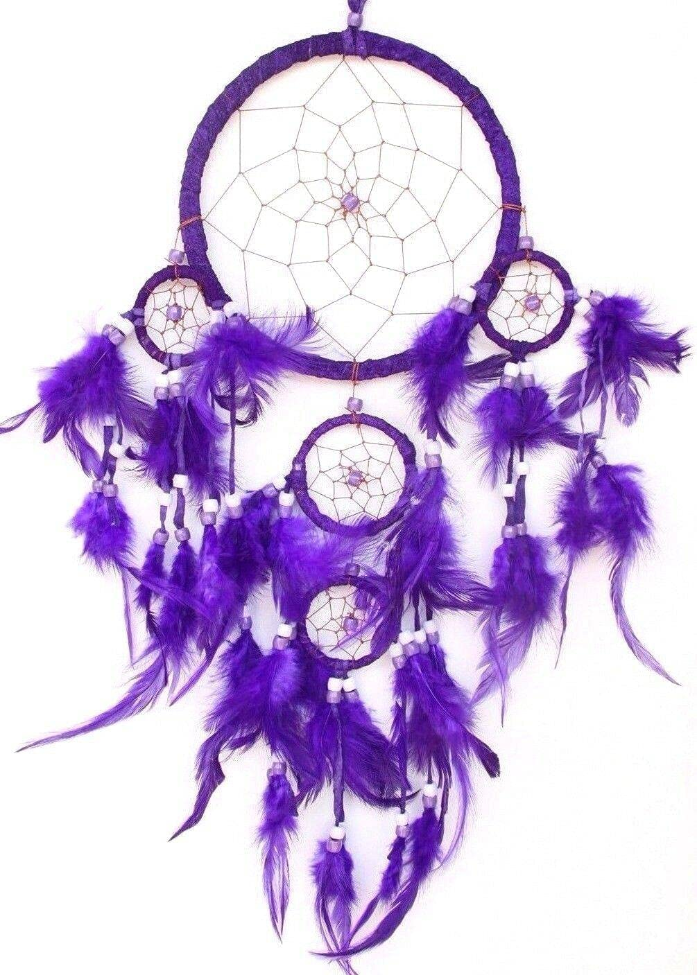 Philadelphia Mall Purple Dream Catcher Handmade w Car Feather Wall Bombing free shipping Leather Deco