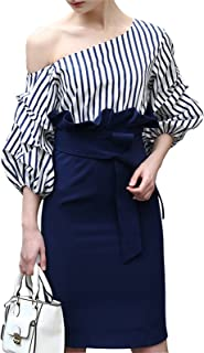 Women's One Off Shoulder Balloon Sleeve Stripes Bodycon Sheath Dress