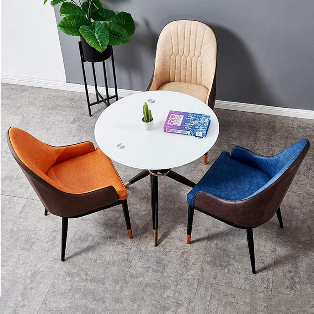 WYYY chaise de Bureau Chaise De Salle À Manger Fauteuil Salle À Manger Chambre Meubles De Salon Siège Souple Jambes en Métal Le Salon Durable Fort (Color : Orange) Orange