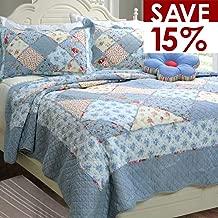 Brandream Shabby Floral Bedding Set Queen Size Quilt Set Cotton Quilted Comforter Set 3-Piece