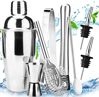 Stainless Steel Cocktail Shaker Bar Set Tools with Martini Mixer Double Measuring Jigger/Mixing Spoon/Liquor Pourers/Muddl...