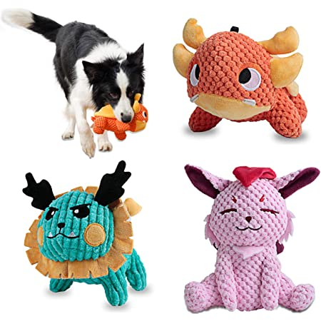 Als Ellan Latest Squeaky Stuffed Dog Toys Pack for Dogs, Durable Plush Chew Toys with Squeakers, Stuffed Animal Cute Soft Pet Toys for for Puppies Teething, Small Medium Dogs (3 Pack)