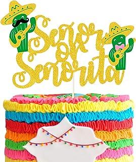 Gold Glitter Senor or Senorita Cake Topper Mexican Taco Bout Baby Shower Fiesta Cinco De Mayo Cactus Bow Sombrero Maracas ...