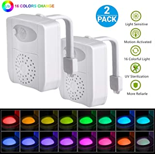 LED Toilet Night Light Motion Detection 2 Pack, 16 Color Motion Sensor Activated Waterproof Glowing Bathroom Lamp Inside Shark Tank Seat with Air Freshener, Gifts for Kids Boys Toddlers Potty Training