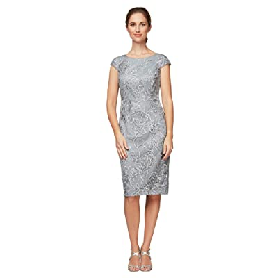 Alex Evenings Short Embroidered Sheath Dress with Cap Sleeves (Silver) Women