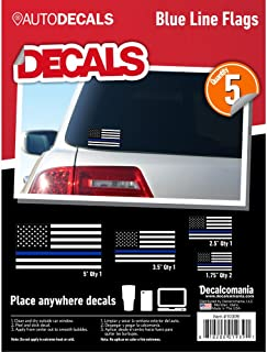 "Decalcomania LLC Thin Blue Line Police USA Black White Blue American Flag Car Truck Window 5 Stickers 1.75"" - 5"" Cell Phone Tumbler Laptop"