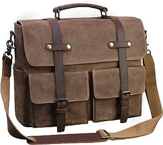 Laptop Messenger Bag for Men 15.6 Inch Waterproof Vintage Waxed Canvas Briefcase Genuine Leather Satchel Shoulder Bag Large Retro Computer Laptop Bag,Brown