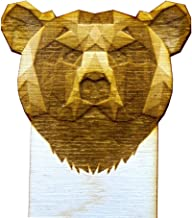 Laser Engraved Custom Geometric Wooden Bear Bookmark. Laser Cut from Birch Wood. Unique Gift for Animal Lovers and Beloved Readers.