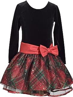 Bonnie Jean Long Sleeve Christmas Dress with Black Velvet and Red Tartan Plaid