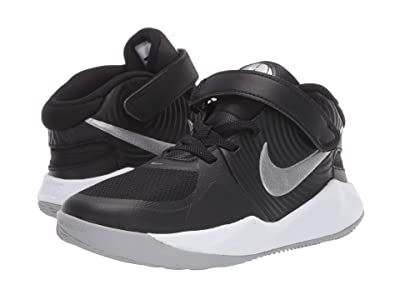 Nike Kids FlyEase Team Hustle D9 (Little Kid) (Black/Metallic Silver/Wolf Grey) Kids Shoes