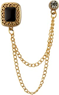 Knighthood Square Black Stone with Gold Engraving Hanging Chain Swarovski Detaling Brooch Lapel Pin