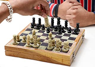 Crocon Wooden Chess Board Game Set Soapstone Hand Crafted Chesspiece for Instructions for Beginner, Kids and Adults, Indoo...