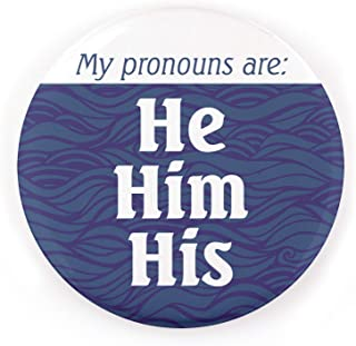 Buttonsmith Pronoun Pinback Button - Union Printed and Union Made - Pronoun He - Made in the USA