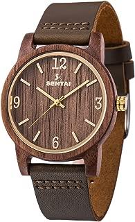 Sentai Natural Wooden Watch, Genuine Leather Strap, Handmade Lightweight Quartz Watches, Unisex Wrist Watch