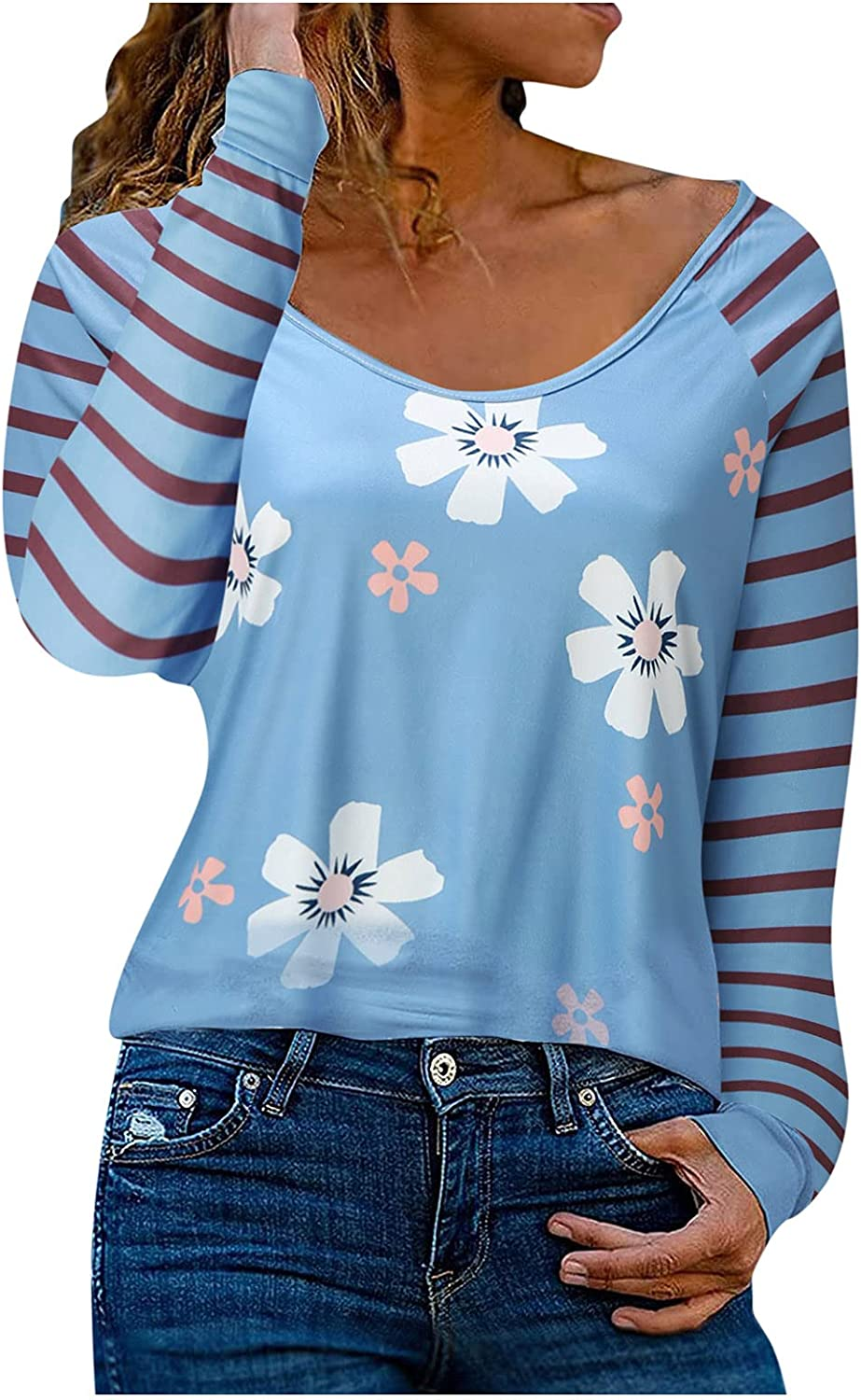 Women Striped sleeves Print overseas Long Ranking TOP18 Sleeve Neck sexy Lace V Casual