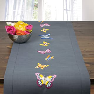 Ernst Schäfer Stickpackung Schmetterlinge, Tischläufer Set vorgezeichnet zum Sticken, Stickset mit Plattstich und Stielstich zum Selbersticken